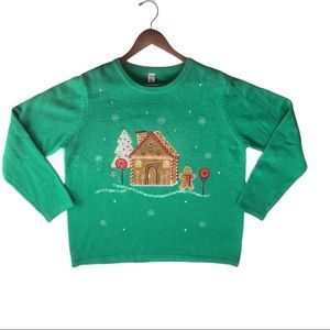 Gingerbread House/Man Green Christmas Sweater